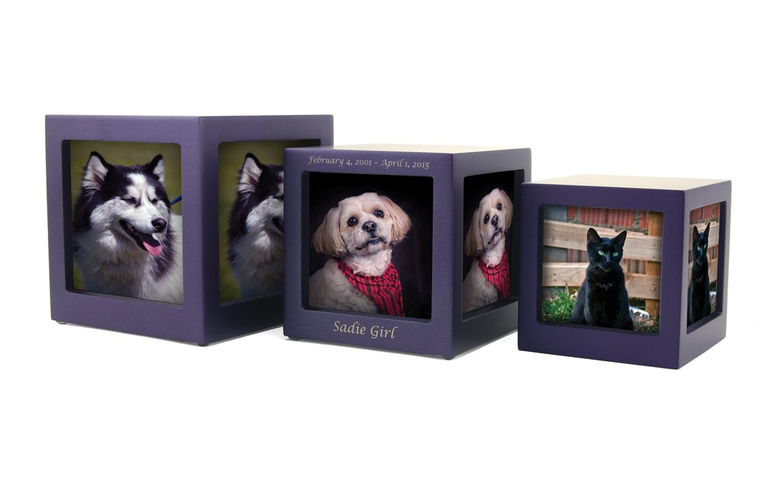Photo cube urns, photo urns, photo pet cremation urns
