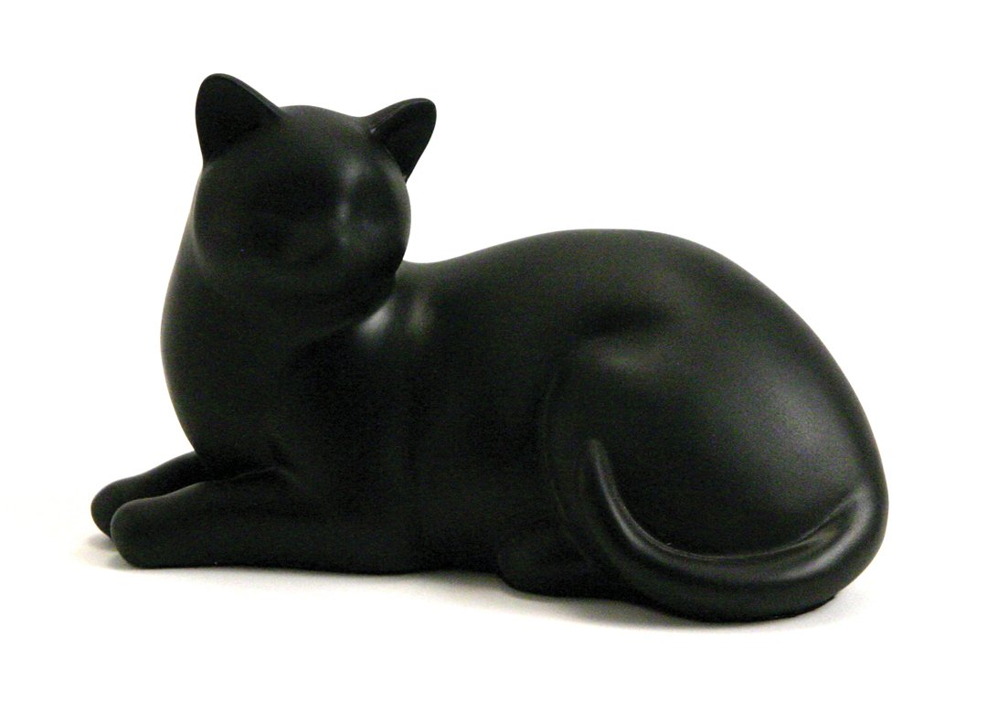 Cozy Cat Black Urn