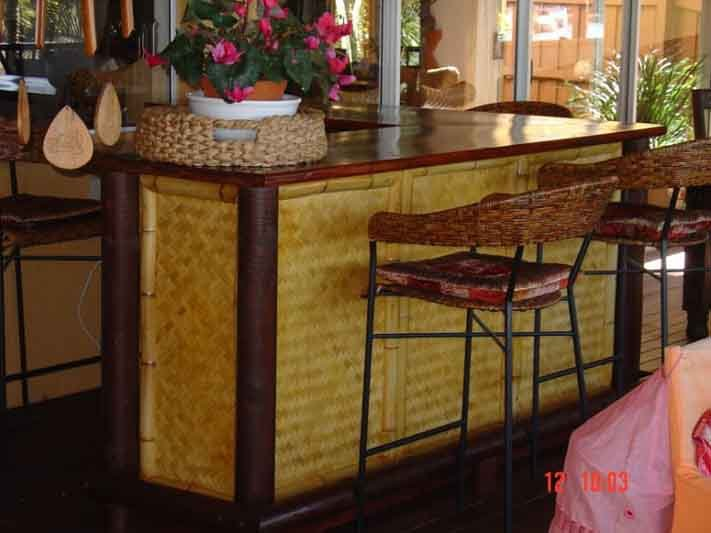 View of a thatched counter