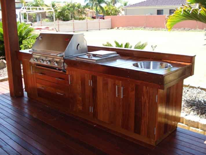 Wooden cabinet for BBQ