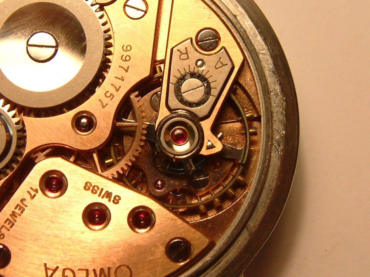 The inside of a watch