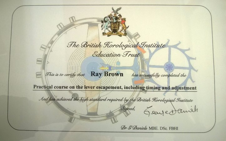 Ray Brown's certificate from The British Horological Institute Education Trust