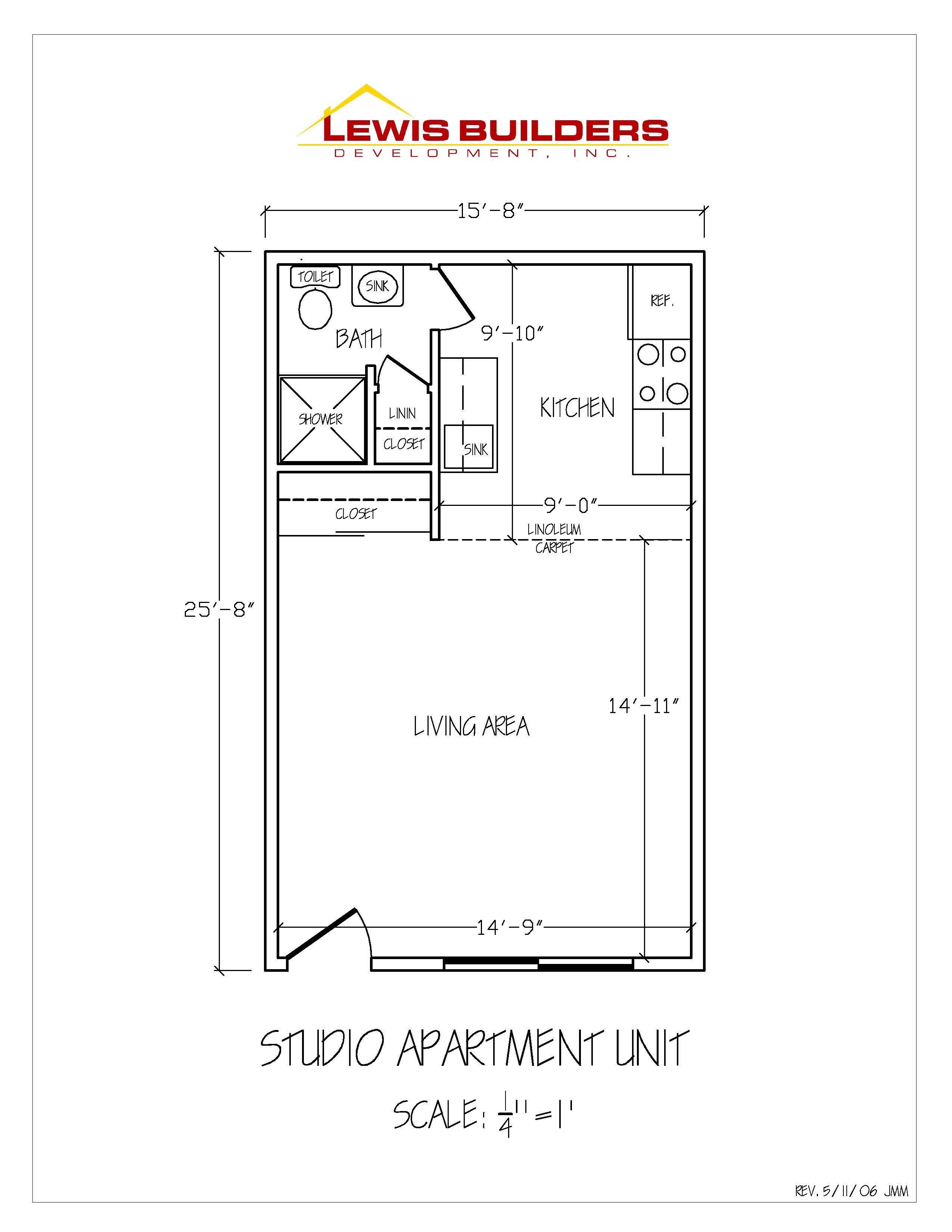 Studio Apartment Unit at Atkinson Apartments - Floor Plan