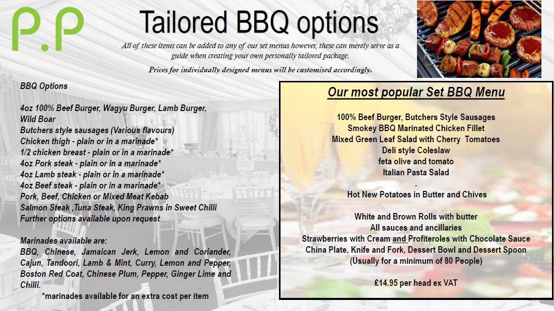 Tailored BBQ menu
