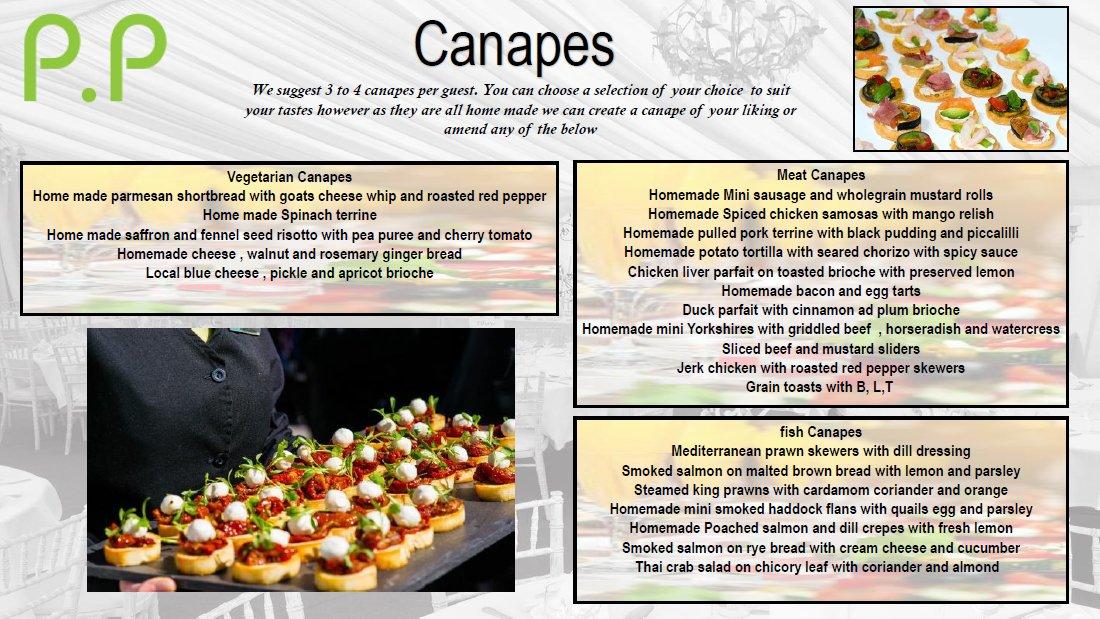 Canapes menu