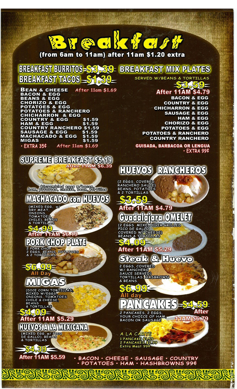 Antonios Mexican Food Escondido Menu