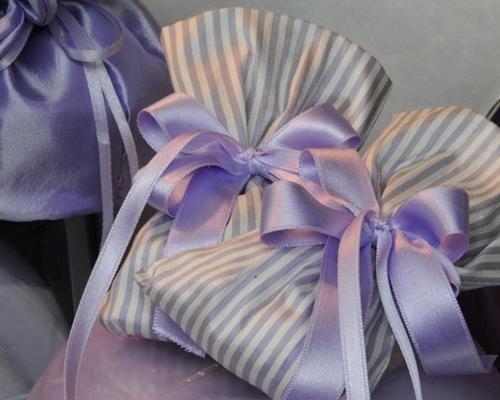 Sacchetti in raso lilla a righe