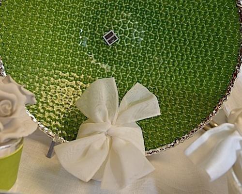 Bomboniera con piatto verde