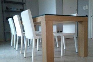 tavolo vetro e legno