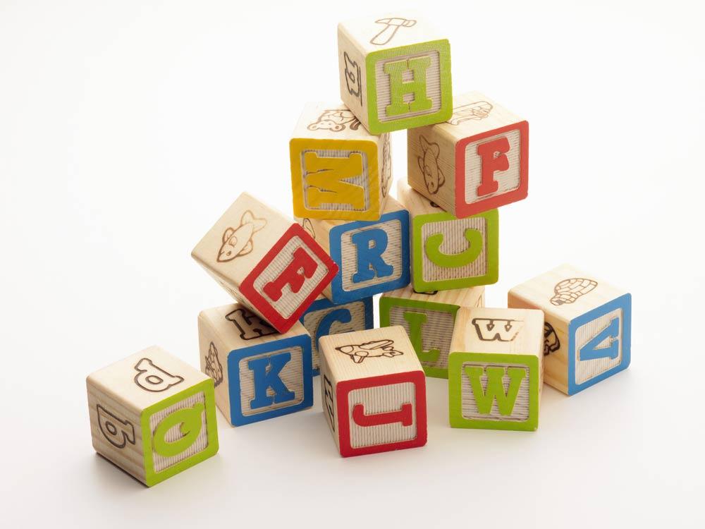 stack of letter blocks