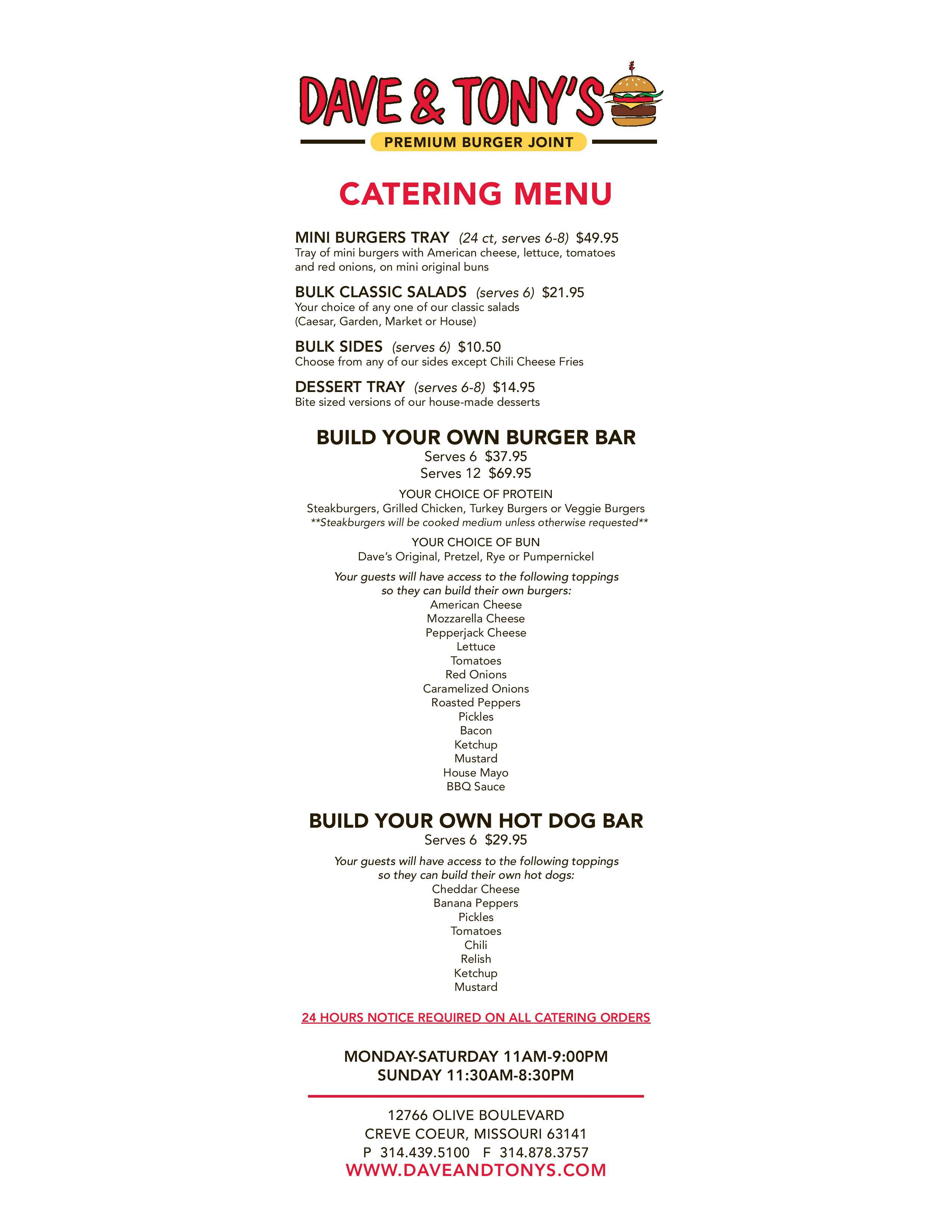 Dave and Tony's Catering Menu
