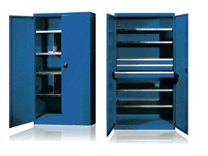 due foto di armadio polifunzionale in metallo blu con cassetti
