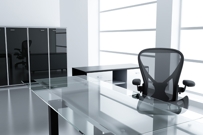 Sleek office with glass furnishings