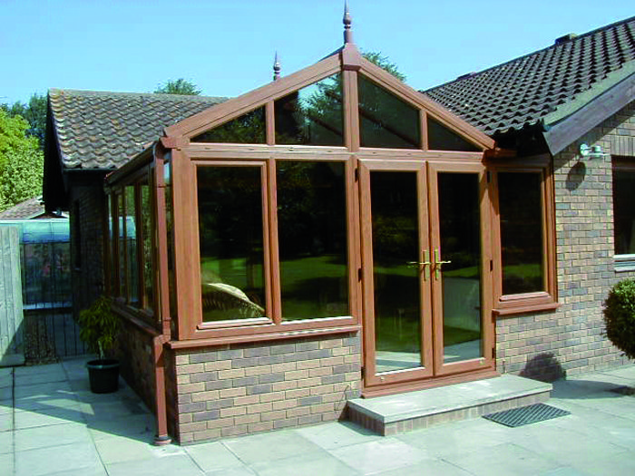 Wooden conservatory on a home