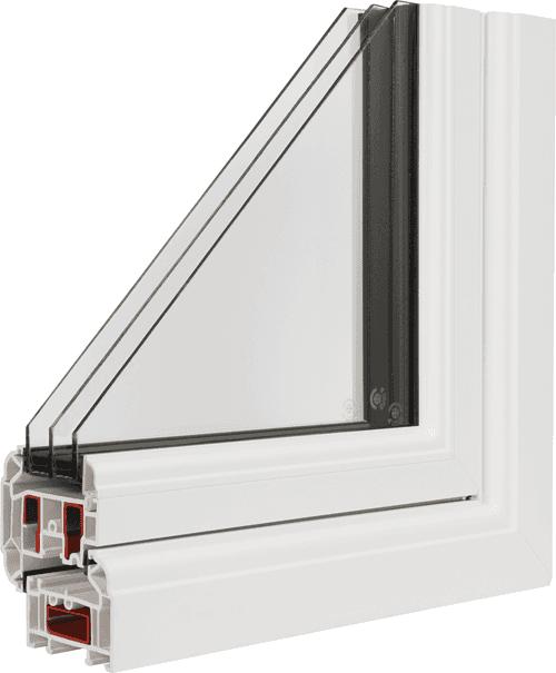 Cross section of a triple glazed window