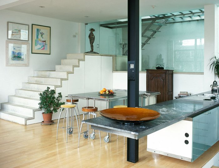 Kitchen with glass work surfaces