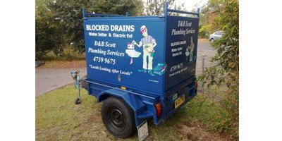 Trailer with equipment to clear blocked drains in Springwood