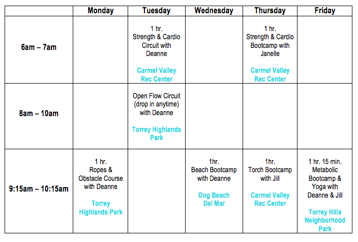 Forever Fit Current Bootcamp Schedule