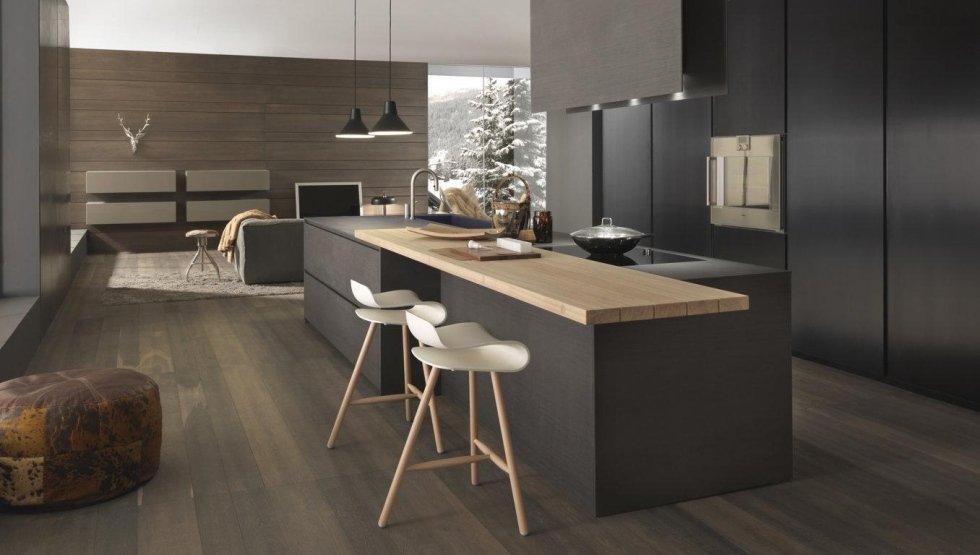 vista laterale di un bancone di cucina moderna in legno