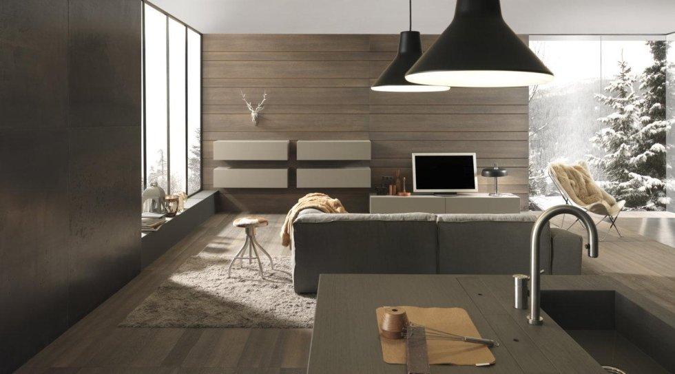 cucina moderna in legno con lampadina, computer e arredamento