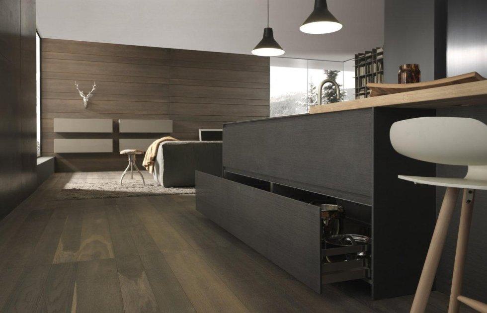 cucina moderna in legno con arredamento