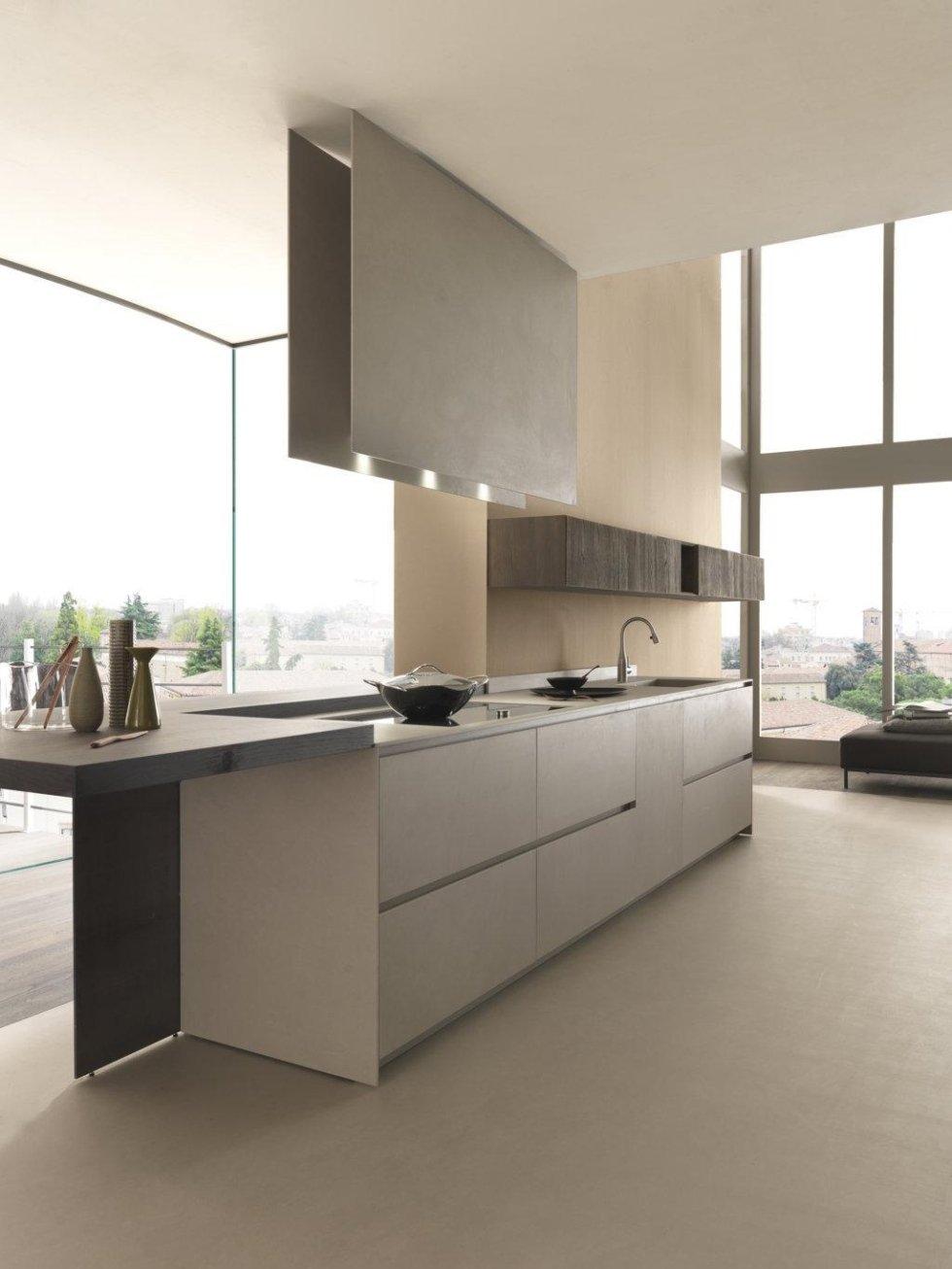 vista laterale di una bancone di cucina moderna con infissi