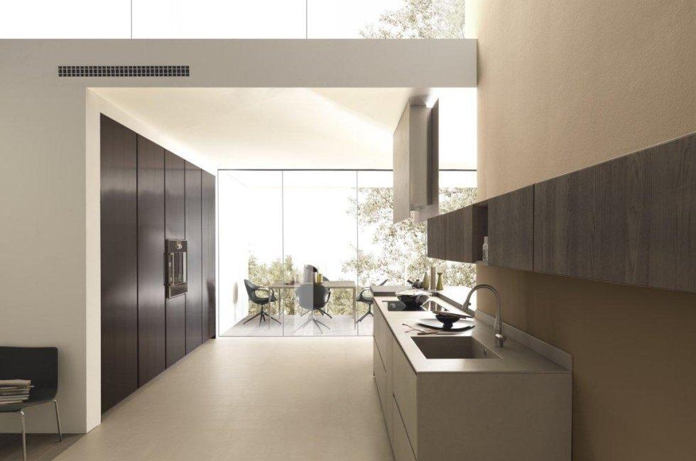 sala da pranzo con cucina moderna