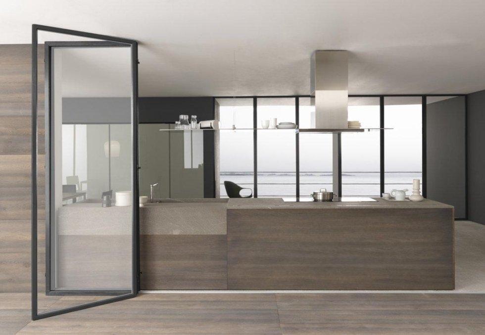 vista frontale di una cucina moderna con arredamento