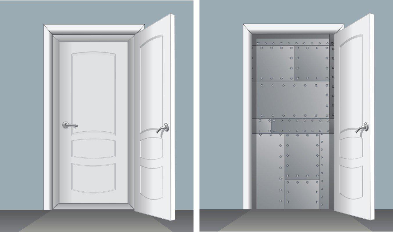 un disegno al computer di due porte in legno bianco