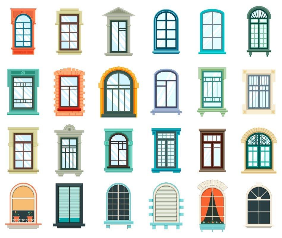 dei disegni di alcune finestre di diversi colori