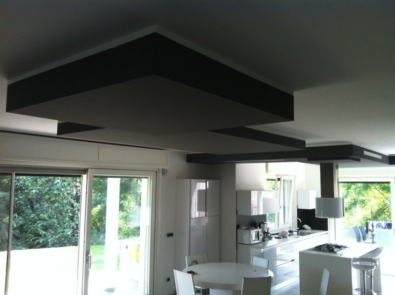 cucina bianca moderna con controsoffitti scuri