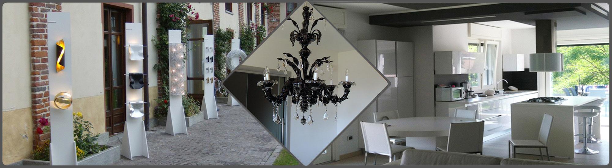 Progetto della F.A.L.C. Lampadari di illuminazione da esterni sulla sinistra e progetto di illuminazione da interni sulla destra realizzato a seguito di consulenza personalizzata a Ciriè (TO)