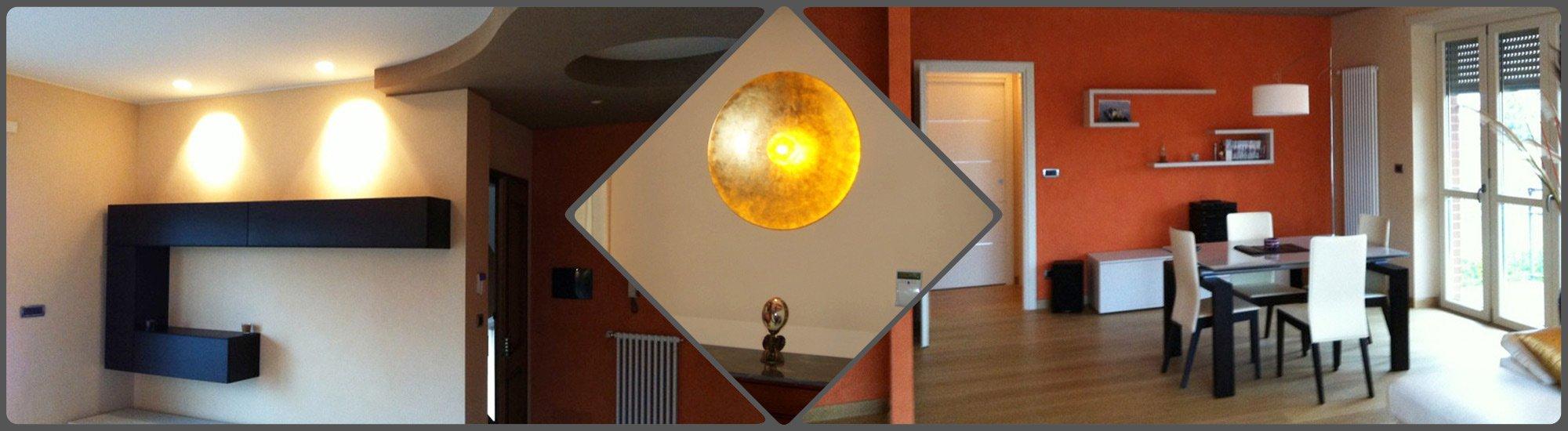 Due ambientazioni che ospitano componenti di illuminazione forniti dalla F.A.L.C . LAMPADARI di Ciriè