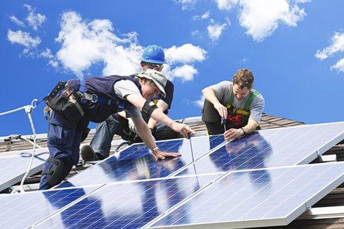 Installation work for solar panel in progress