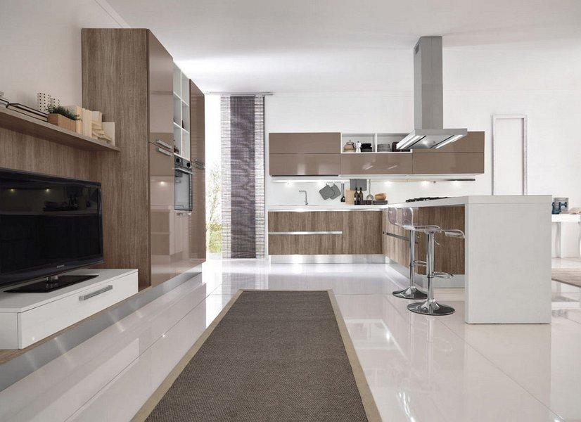 cucina marrone e bianca