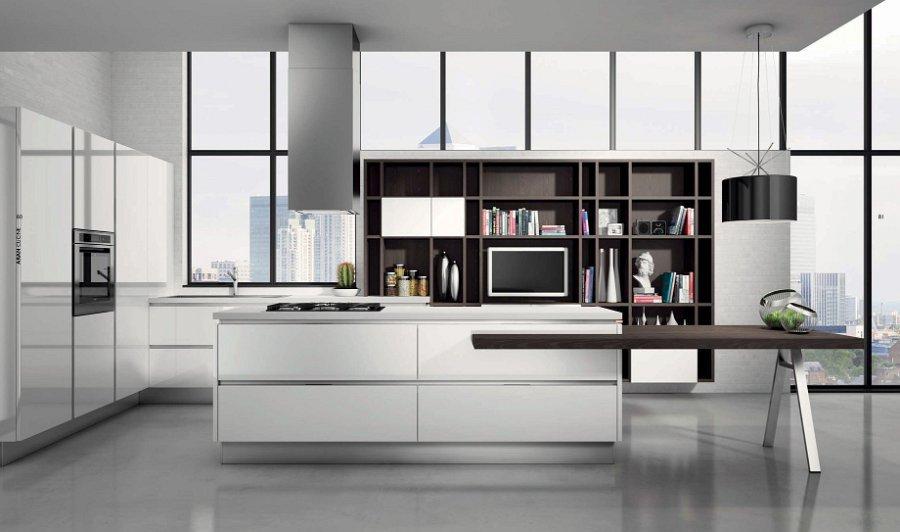 cucina con libreria