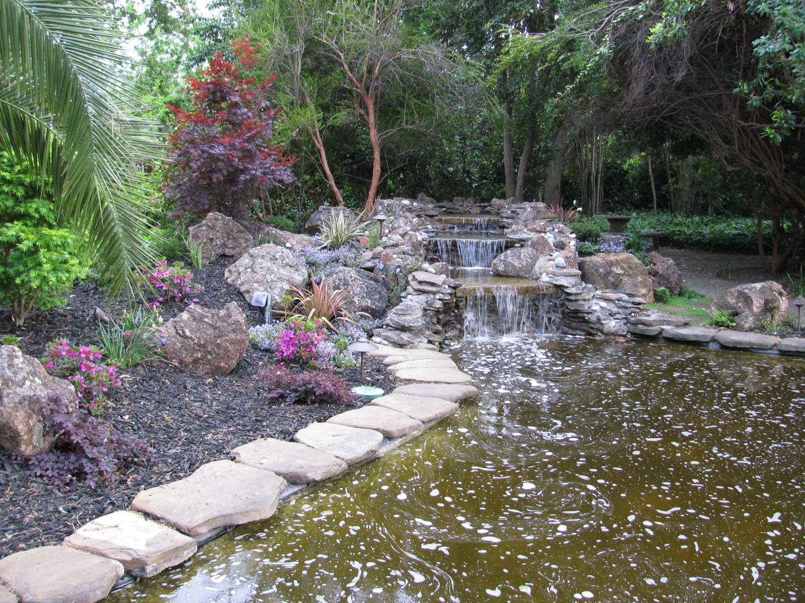 to plants footbridge waterfalls garden from streams surrounded fountains stone by lakes small design cheltenham and gloucestershire features ponds naturalized path add for landscaping meandering water cs a colourful