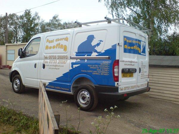 van with advertisements