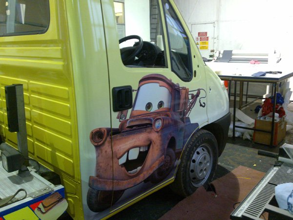 cartoon printed on the van