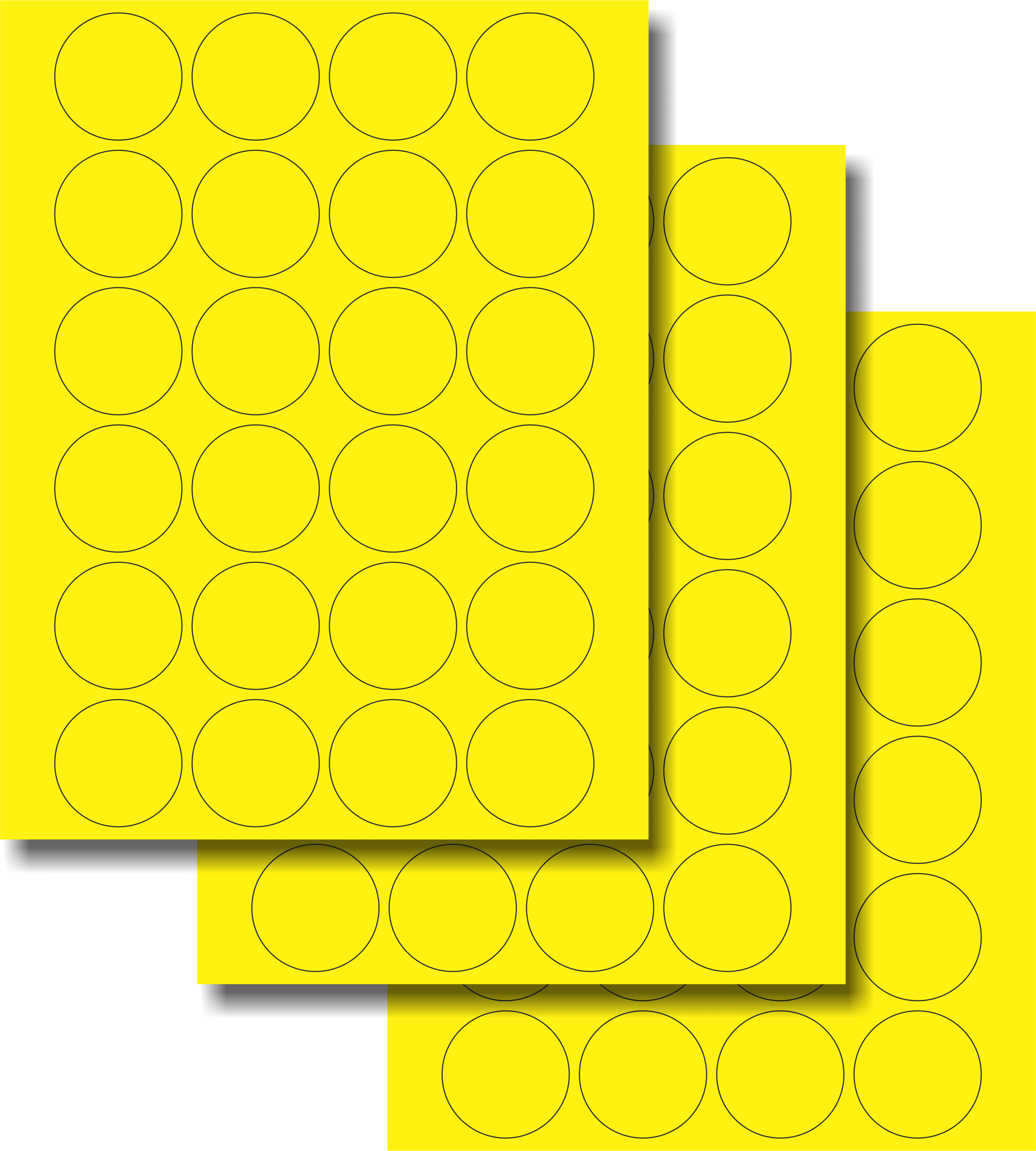 Etiquetas Adhesivas Láser Circulares - Fluorescente 1 2/3
