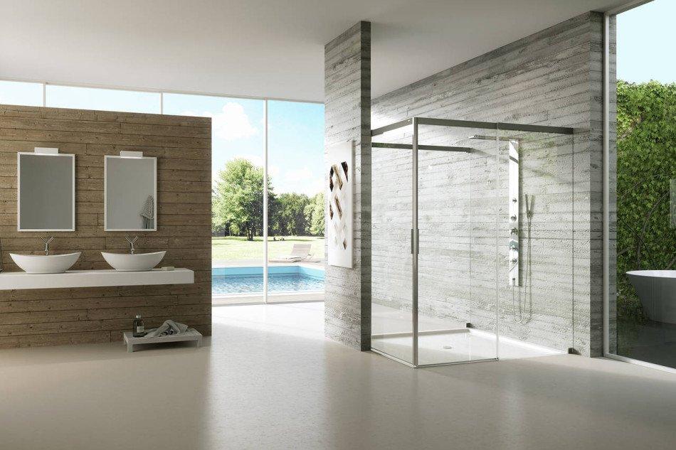 bagno con box doccia a vetro