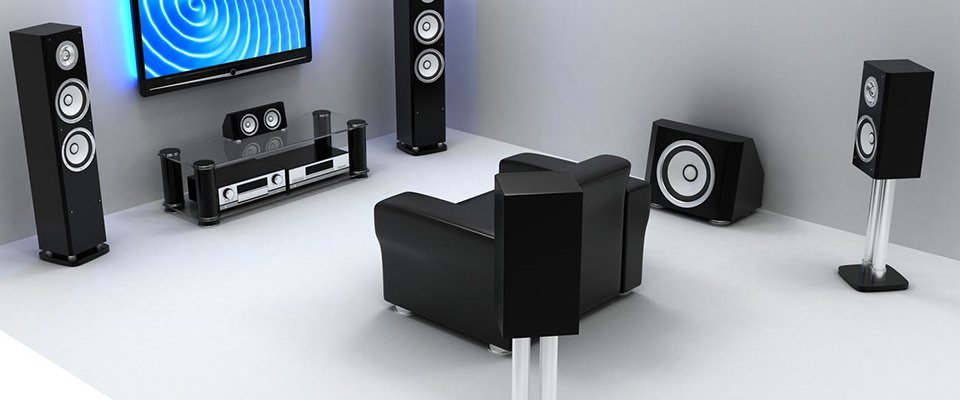 A large home theatre surround sound system