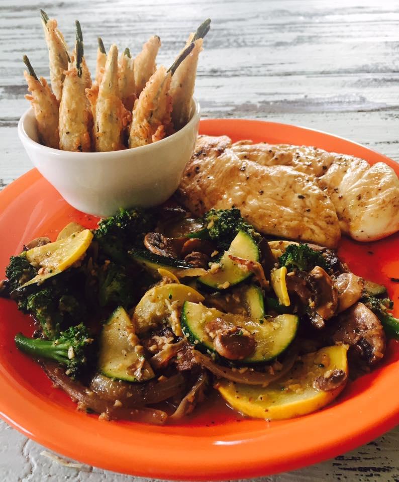 Grilled chicken, sautéed veggies, and fried okra!