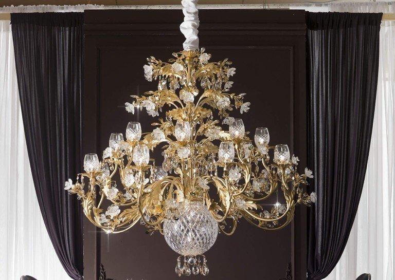 Plafoniere Cristallo Swarovski : Lampadario plafoniera o cm luci colore dorato cristallo di