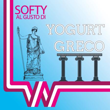 volantino pubblicitario di un nuovo gusto allo yogurt greco