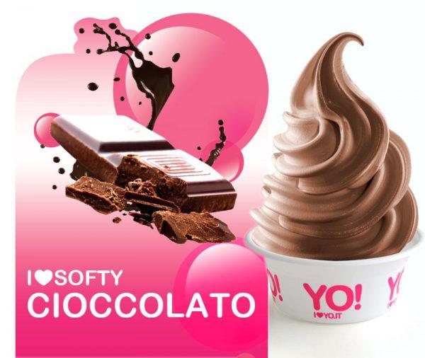 volantino pubblicitario di un nuovo gusto al  cioccolato a marchio YO!