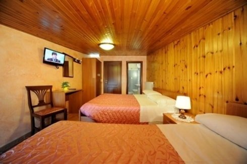 camera da letto con muri in legno, due letti singoli separati da un comodino con una lampada, tv a muro e una sedia