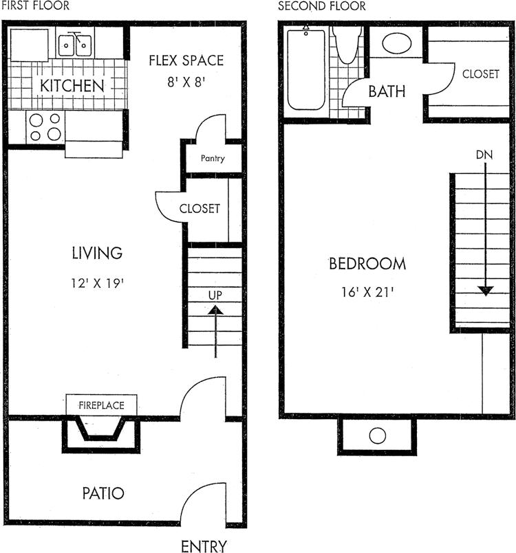 Houston Texas Two Story Biscayne at Cityview floorplan 1 bed 1 bath 916 square feet