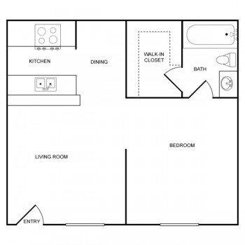 Houston Texas Rockridge Springs 1 bed 1 bath Floor Plan