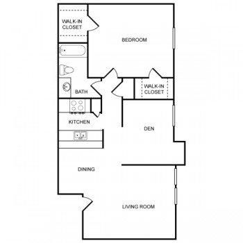 Rockridge Park 1 bed 1 bath Floor Plan with Living Room, Den and Dinning Room